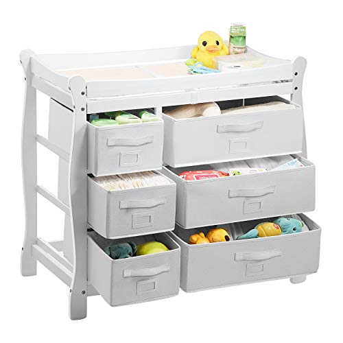 Sale!! Kealive Baby Changing Table, Infant Diaper Changing Table Wood with 6 Baskets, Dresser Nursery Station with Pad and Safety Strap for Baby, BPA Free, 37.5″L x 19″W x 37.5″ H, White