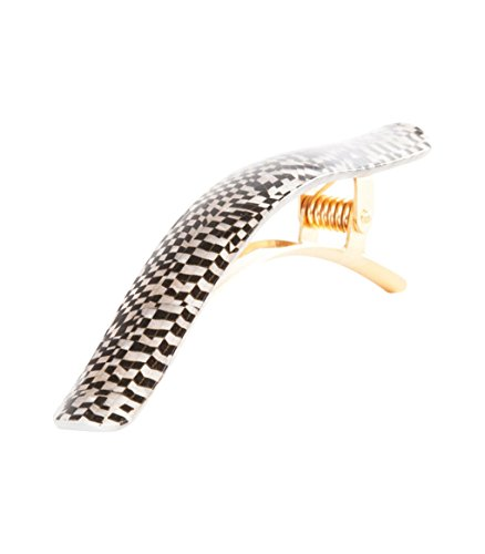 Ficcare Ficcarissimo Hair Clip in Black and Pearl Checkers