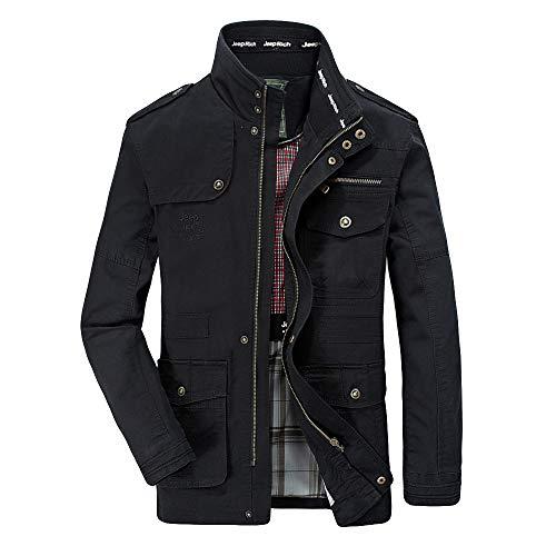 Realdo Men's Casual Jacket, Mens Autumn Winter Fashion Multi-Pocket Durable Long Sleeve Cargo Coat(Large,Black)