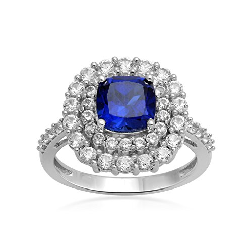 Jewelili Sterling Silver Cushion Cut Created Blue and White Sapphire Double Halo Ring, Size 7