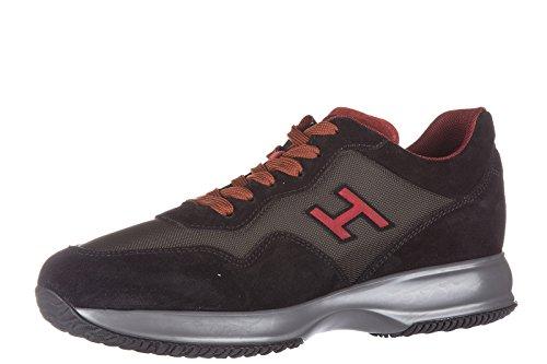 Hogan chaussures baskets sneakers homme en daim interactive h flock noir