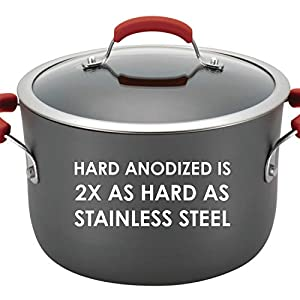 Rachael-Ray-82710-Brights-Hard-Anodized-Nonstick-Cookware-Pots-and-Pans-Set-10-Piece-Gray-with-Red-Handles