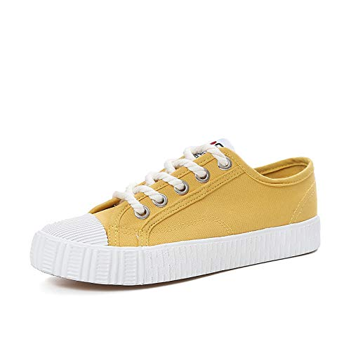 piatto Comfort Punta Sneakers ZHZNVX rotonda Black Giallo vulcanizzate Scarpe Drappeggiato Scarpe Tacco Tela da Estate bianco Primavera donna Nero xfzWYwP7qf