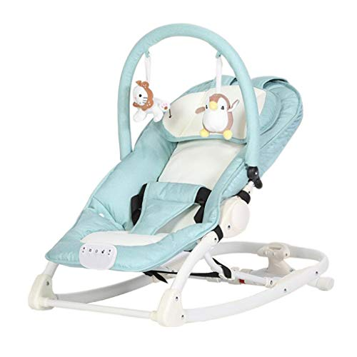 Vibrating Rocking Chair Aluminum Alloy Music Lazy Basket Appease Lying Slumber Swing Bed 2 Color 70cm40cm MUMUJIN (Color : Linen Green) from Baby rocking chair