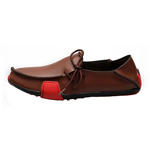 Soft Leather Men Gaorui Moccasin Casual Boat Loafers Brown Slip Summer Driving On Shoes WYww8qdr