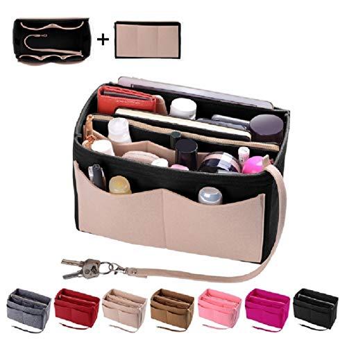 (Purse Organizer Insert, Felt Bag organizer with zipper, Handbag & Tote Shaper, Fit LV Speedy, Neverfull, Longchamp, Tote (Slender Large, Beige and)