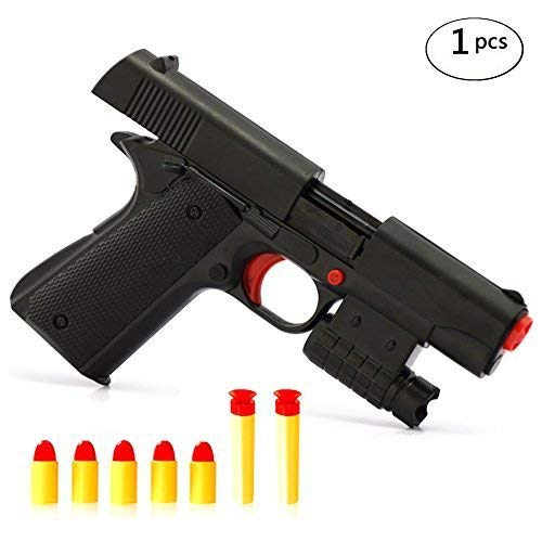 Pinovk Kid Toy Gun Realistic 1:1 Scale Colt M1911A1 Rubber Bullet Pistol Mini Pistols (Rubber Bullets For Airsoft Gun)