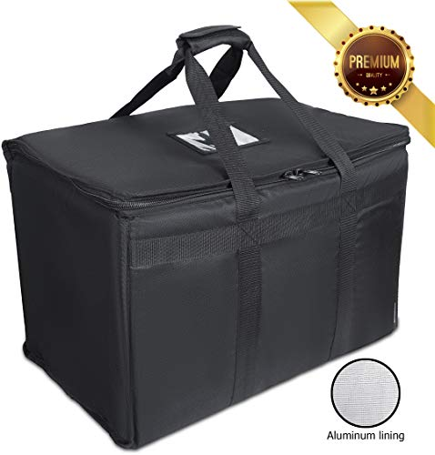 Premium Food Delivery Bag. Fit Chafing Trays. Heavy Duty Bag with Strong Insulation. Reinforced Stitching for Heavy Loads. Perfect for Food Delivery & Commercial Transportation. Large Capacity.