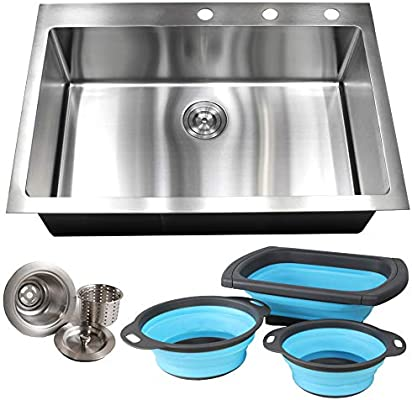 33 Inch Drop In Topmount Stainless Steel Kitchen Sink Package - 16 Gauge  Single Bowl Basin w/9 Gauge Deck and 16 Gauge Bowl, 33\