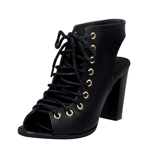 (Pointed Shallow Mouth Strap Shoes Female Roman Shoes SolidSolor Hollow Thick with Sexy Sandals Black)