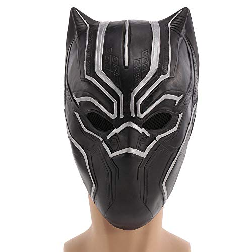 (Dingq Black Panther Mask Superhero Latex Costume Mask Headgear for Halloween Cosplay Party Decoration Backroom Film Props -)