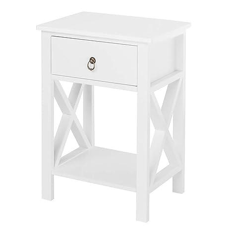 Amazon.com: Bonnlo - Mesa auxiliar de noche con cajón y ...