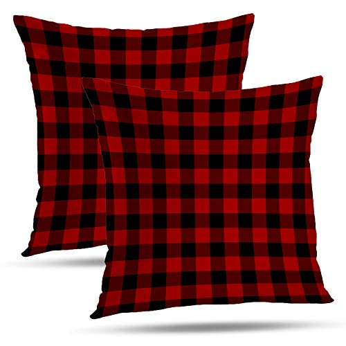 Pillow Checkered (Batmerry Checkered Pillow Covers 18x18 Inch Set of 2, Red Black and White Tartan Plaid Pattern Double Sided Decorative Pillows Cases Throw Pillows Covers)