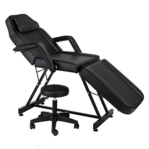 Uenjoy 72″ Adjustable Beauty Salon SPA Massage Bed Tattoo Chair with Stool, Black