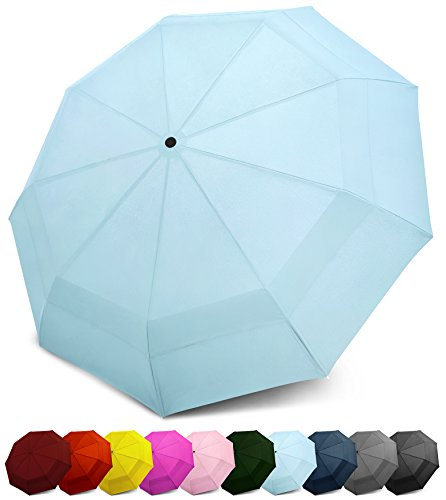 EEZ-Y Compact Travel Umbrella w/Windproof Double Canopy Construction - Auto Open/Close (Day Umbrella)