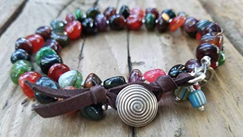 Rainbow Agate and Hill Tribe Silver Bracelet