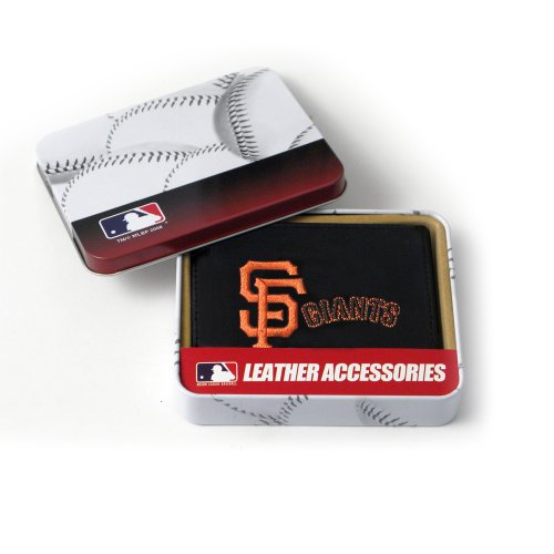 Giants Rico Tri Fold Wallet - MLB San Francisco Giants Embroidered Genuine Cowhide Leather Trifold Wallet