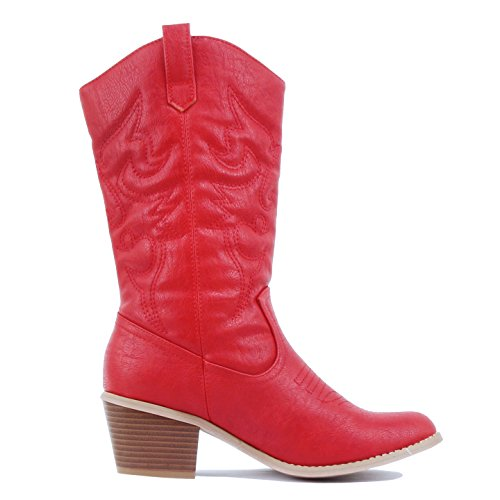 West Blvd Miami Cowboy Western Boots Boots, Red PU, 7 (B) M US (Red Boot Cowboy)