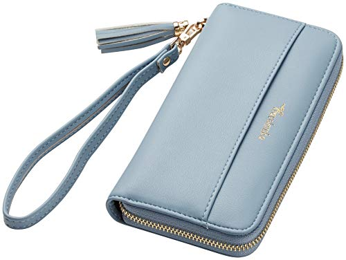 Travelambo Womens Wallet Tassel Bifold Ladies Cluth Wristlet Wrist strap Long Purse (Access Blue Classic)
