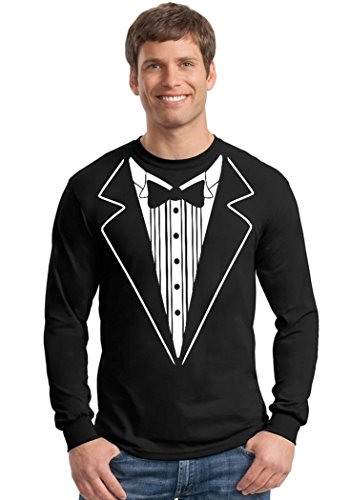 Promotion & Beyond Tuxedo White Funny Long Sleeve Shirt, L, Black