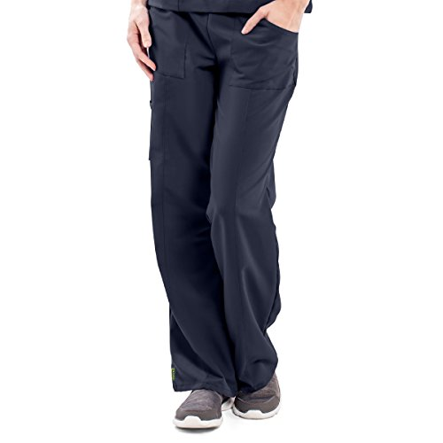 ave Women's Medical Scrub Pants, Pacific ave, Slimming Straight Leg Style Scrub Pant, Cargo Pockets, Great for Nurses, Navy, Medium