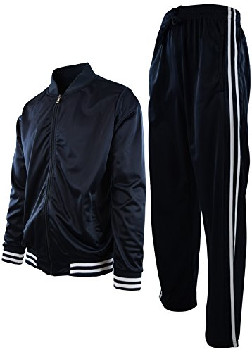 Mens Athletic 2 Piece Tracksuit Set (3XL, 2LINESET-Navy) by ChoiceApparel