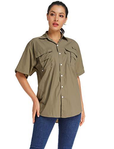- Women's Quick Dry Sun UV Protection Short Sleeve Shirts for Hiking Camping Fishing Sailing #5017-Khaki,L (Tag M)