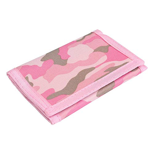 RFID Wallet Camouflage Wallet Nylon Trifold Wallets for Men,Mini Trifold Coin Purse with Zipper for Kids (Pink)