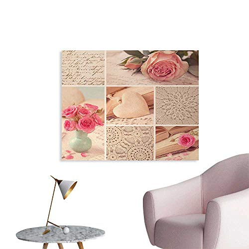 (Tudouhoho Shabby Chic Cool Poster Collage Photos Lace Roses Flower Leaves Old Art Print Wallpaper Light Pink Forest Green and White W36 xL32)