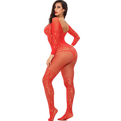 Advoult Plus Size Lingerie Fishnet Bodysuit Crotchless Tights Sexy Nightwear Bodystocking For Women