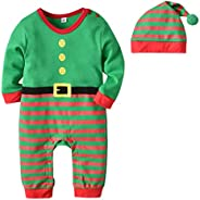 Happy Cherry Infant Baby Boys Girls Christmas Elf Costume Long Sleeve Romper Pants Hat Xmas Outfits Set