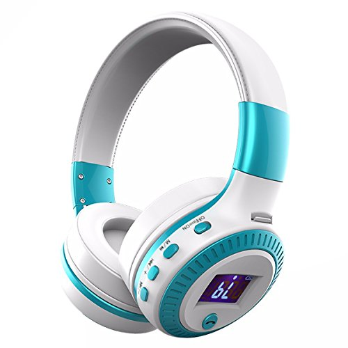 Wireless Headphones, ELEGIANT On Ear Wireless Headset Foldable with Mic FM Radio Micro SD Card Slot Wired and Wireless Headphones for iPhone 8 7 6S 6/Android Phones/Laptop/ PC White & Blue