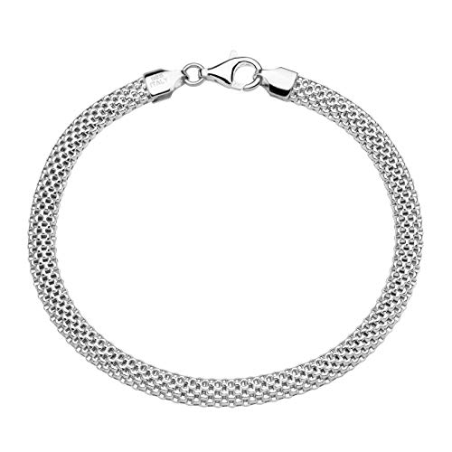 MiaBella 925 Sterling Silver Italian 5mm Mesh Link Chain Bracelet for Women, 6.5