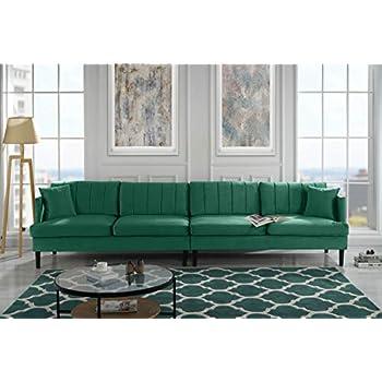 Amazon Com Mid Century Modern Velvet Sectional Sofa L