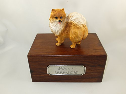 Beautiful Paulownia Small Wooden Urn with Red Pomeranian Figurine & Personalized Pewter Engraving ()