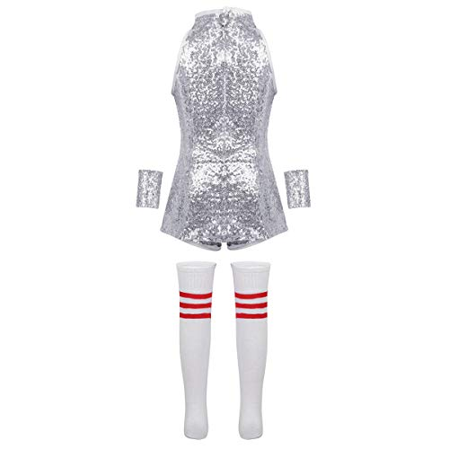 iEFiEL Kids Girls Sequins Hip Hop Modern Jazz Street Dance Costume Children Stage Performances Dress Outfit Silver ()