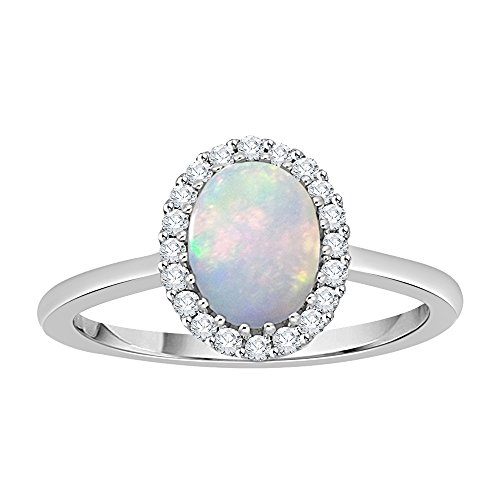 Diamond and Oval Cut Opal Halo Ring in Sterling Silver (1 cttw) (GH Color, I2-I3 Clarity) (Size-6.75) by KATARINA
