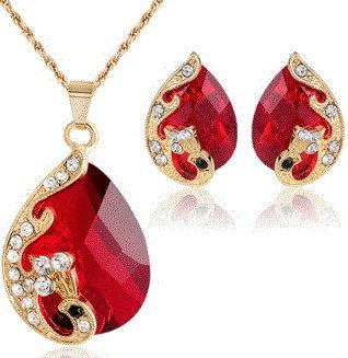 18k Yellow Gold Plated Red Australian Crystal Bridal Jewelry Sets Earrings & (Mistral Set Ring)