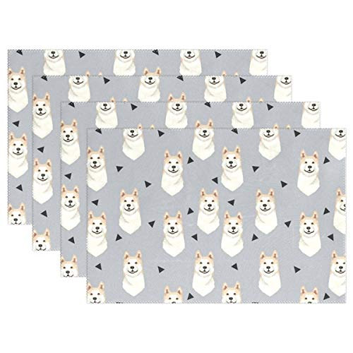- Danlive Akita Dog Gray Placemats Dining Table Mats for Home Kitchen Office, Set of 6