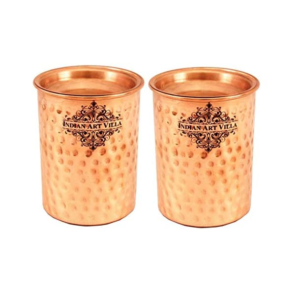 Indian Art Villa Hammered Copper Glass Tumbler with Lid, Drinkware and Health Benefits, 250 ml -Set of 2