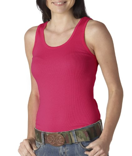 (Ladies' 2x1 Rib Tank Top, Color: Fuchsia, Size: Large)