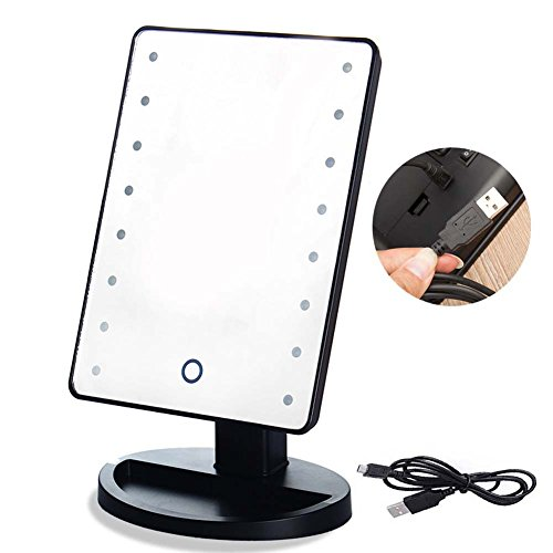 righton lighted makeup mirror with led lights touchscreen sensor with dimmable lights table top cosmetic mirror for bathroom vanity usb cable and battery dual power source (black)