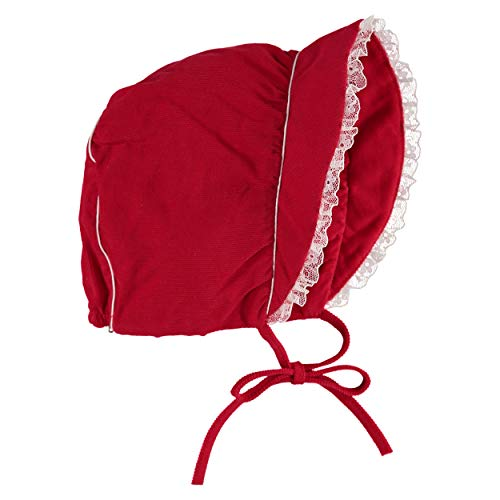 Carriage Boutique Girls Corduroy Vintage Red Bonnet with Lace