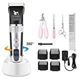 PetExpert Dog Clippers Cordless Dog Grooming Clippers Kit Rechargeable Quiet Pet Hair Clippers Trimmer with 10 Dog Grooming Tools for Dogs - Cats and Other Pets (Black)