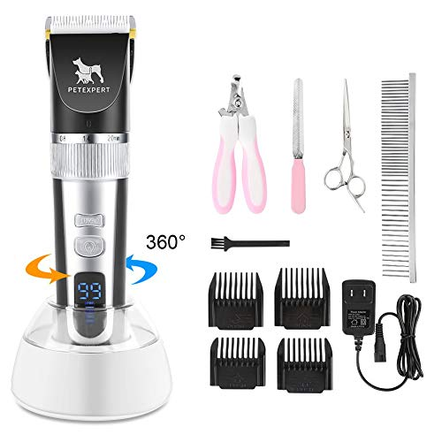 PetExpert Dog Clippers Cordless Dog Grooming Clippers Kit Rechargeable Quiet Pet Hair Clippers Trimmer with 10 Dog Grooming Tools for Dogs, Cats and Other Pets (Black)