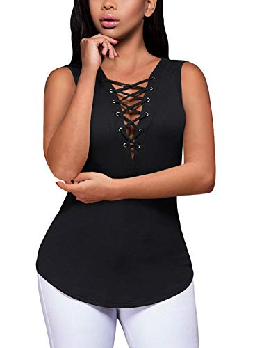 Women's Summer Sleeveless Criss Cross Tank Tops Basic V-Neck Lace-Up Ribbed Stretchy Slim T Shirt (XXL,Black)