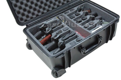 Case Club Waterproof 8 Pistol Case with 2 Silica Gel Canisters to Help Prevent Gun Rust -