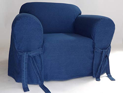 Classic Slipcovers one Piece Chair Denim slipcover, Blue