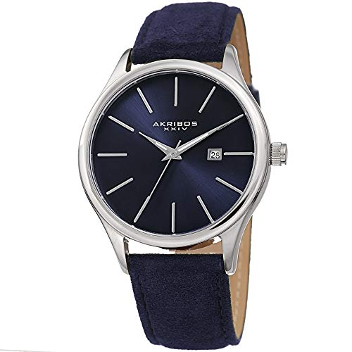 Akribos XXIV Men's Suede Leather Watch – Classic Round Casual Designer Wristwatch with Date Window and Sunray Dial – Blue - AK1019BU