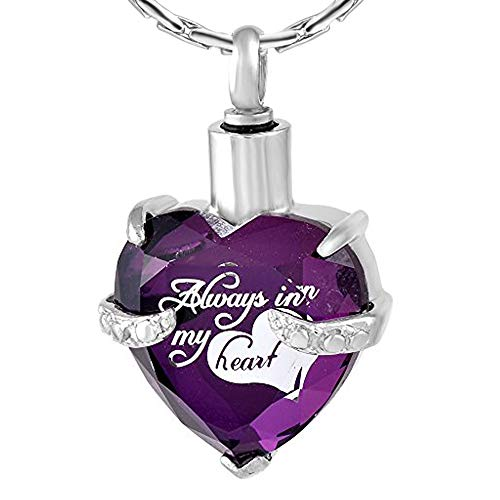 constantlife Crystal Heart Shape Cremation Jewelry Memorial Urn Necklace for Ashes, Stainless Steel Ash Holder Pendant Keepsake with Gift Box Charms Accessories for Women (Z-Purple)